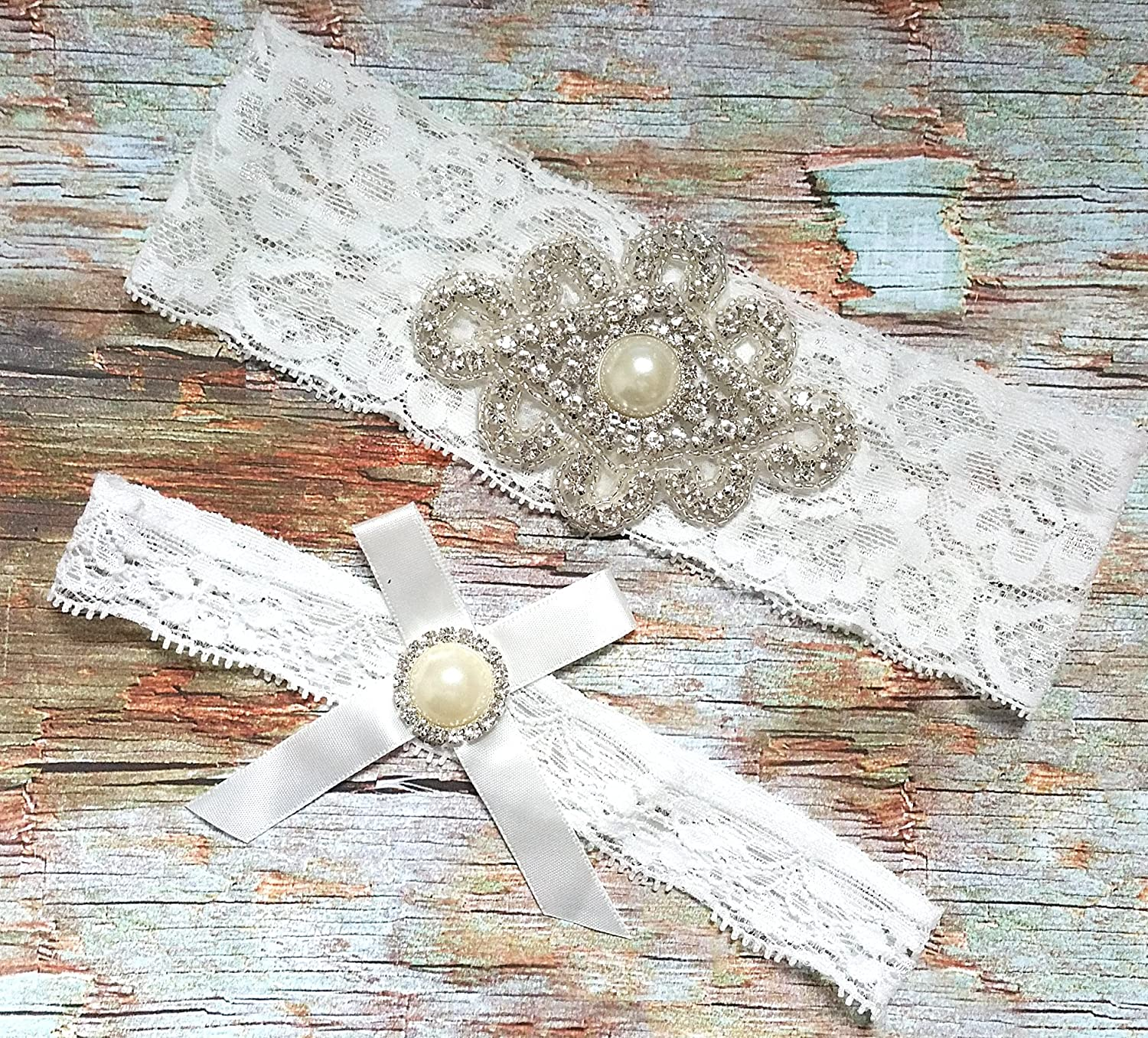 Ivory White Wedding Garter Set keepsake+toss Bridal Prom Lace Garter Set S5