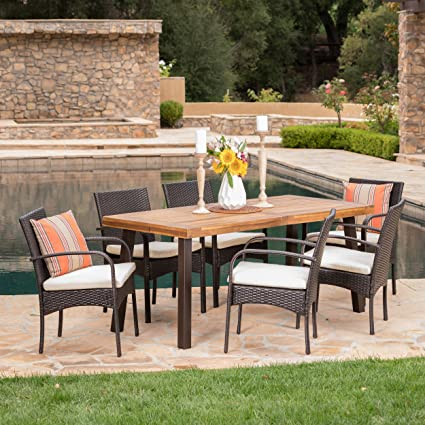 "Christopher Knight Home 298896 Sebastian 7 Piece Wicker and Wood Outdoor Dining Set | Perfect for Patio | in Mu, Table Dimensions: 33.07""D x 68.70""W x ..."