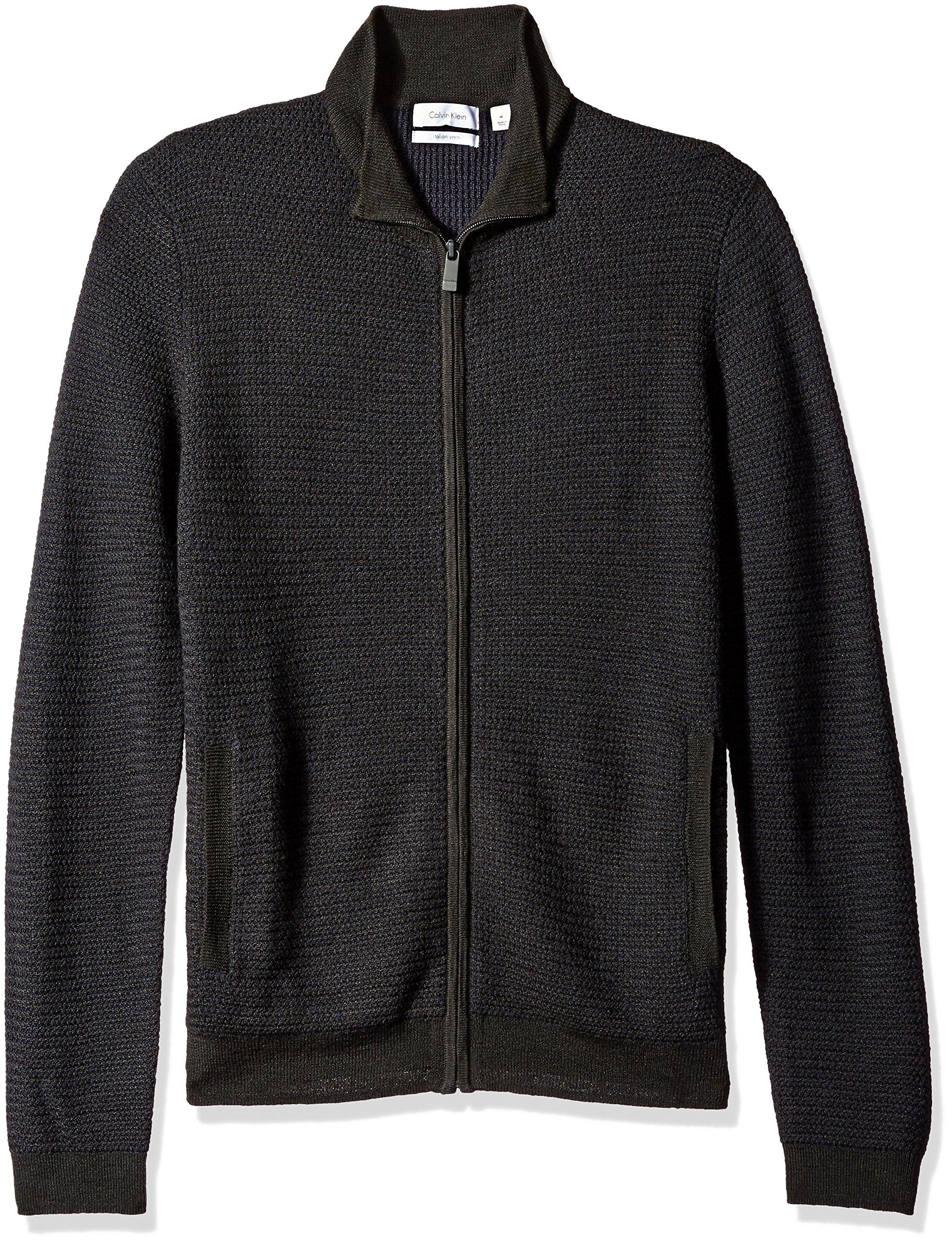 Calvin Klein Men's Full Zip Merino Plaited Sweater, Black Combo, MEDIUM