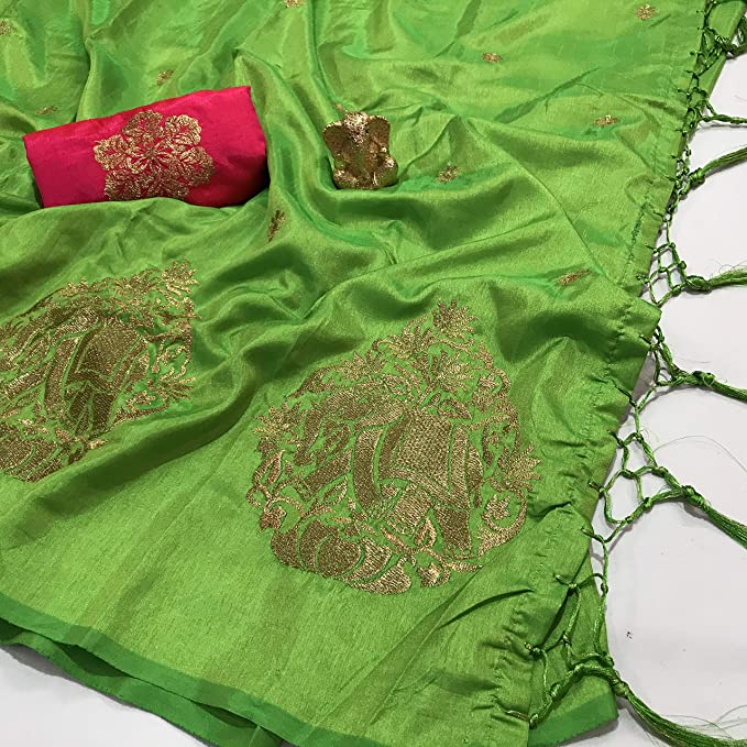 29b0a7ea8d92d Green Sana Silk Saree with elephant Embroidery Design With Designer blouse  piece  Amazon.in  Clothing   Accessories