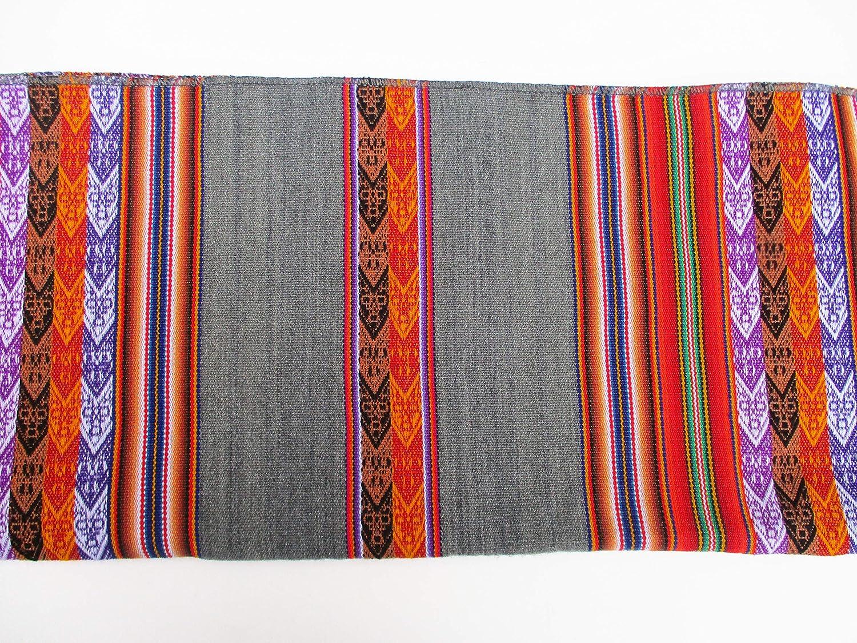Gray Aguayo Tablecloth South American Art Break Inka Peruvian Fabric Native Table Cover 48 x 42 Peru Bolivia Ecuador