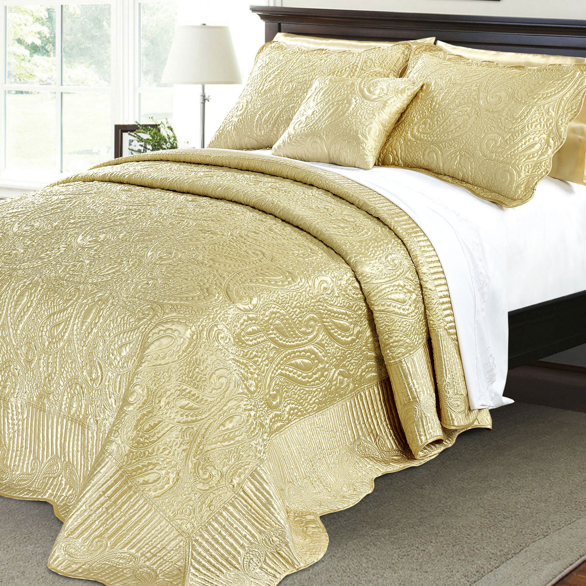 Home Soft Things Serenta Quilted Satin 4 Piece Bedspread Set, King, Gold