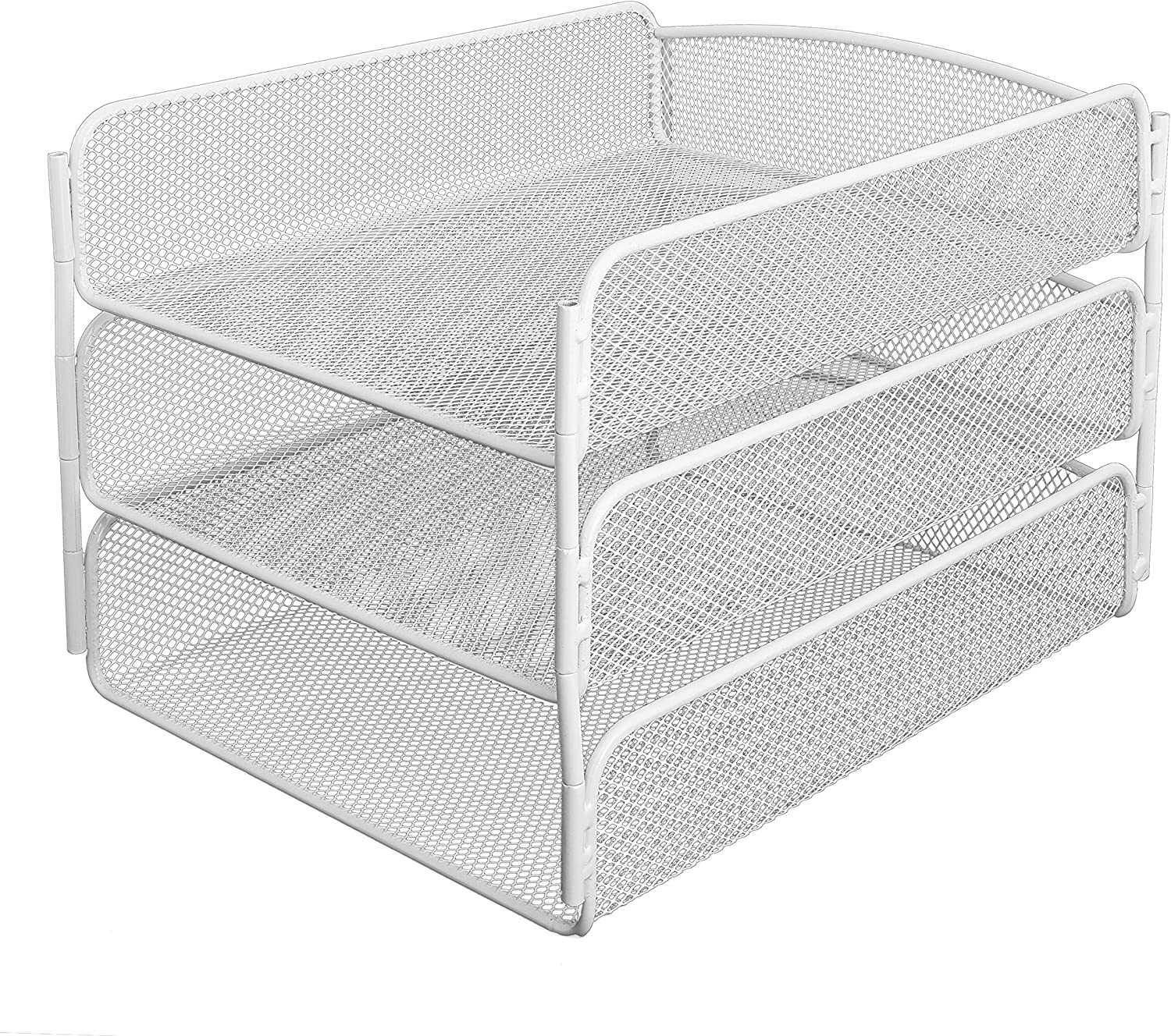 AdirOffice Mesh Desktop Organizer with Triple Tray - Contemporary Tabletop Shelf Rack - Easy Use Compartment & Drawer for Home & Office Use (White)