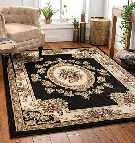 Well Woven Pastoral Medallion Black French European Formal Traditional 5x7 5 3 X 7 3 Area Rug Easy To Clean Stain Fade Resistant Modern Contemporary Floral Thick Soft Plush Living Dining Room Rug Home