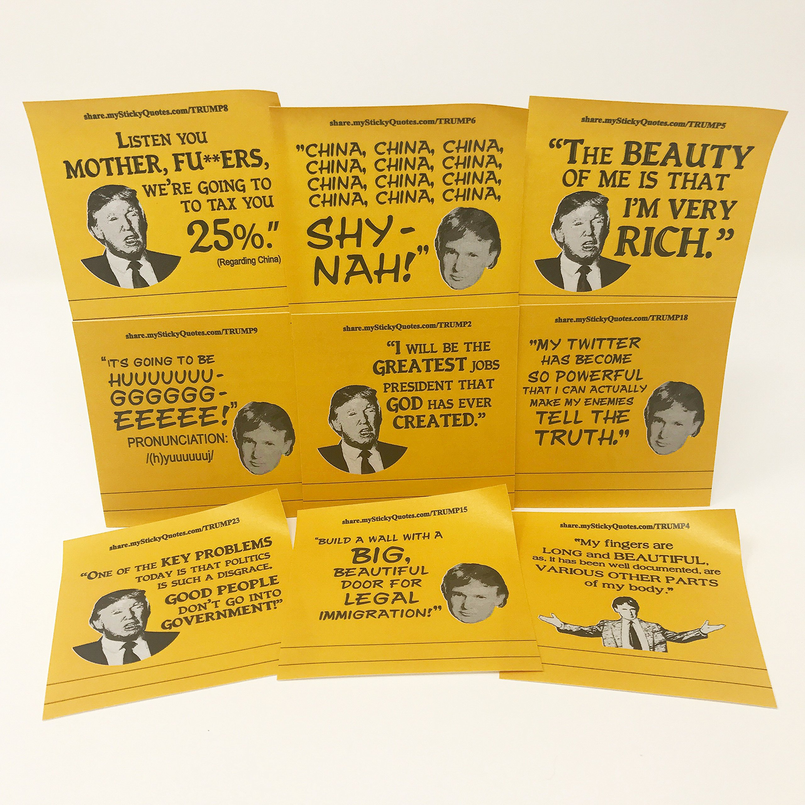 Politically Incorrect Trump Sticky Notes – Political Gag Gift For Democrats And Republicans – 2 Pads 50 Sheets/Pad Gold Notes W/Black Typography