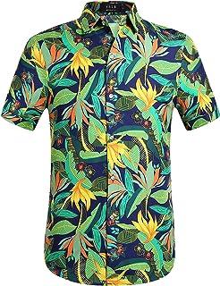 a48d58d5f5af SSLR Men's Print Button Down Casual Short Sleeve Tropical Hawaiian Shirt