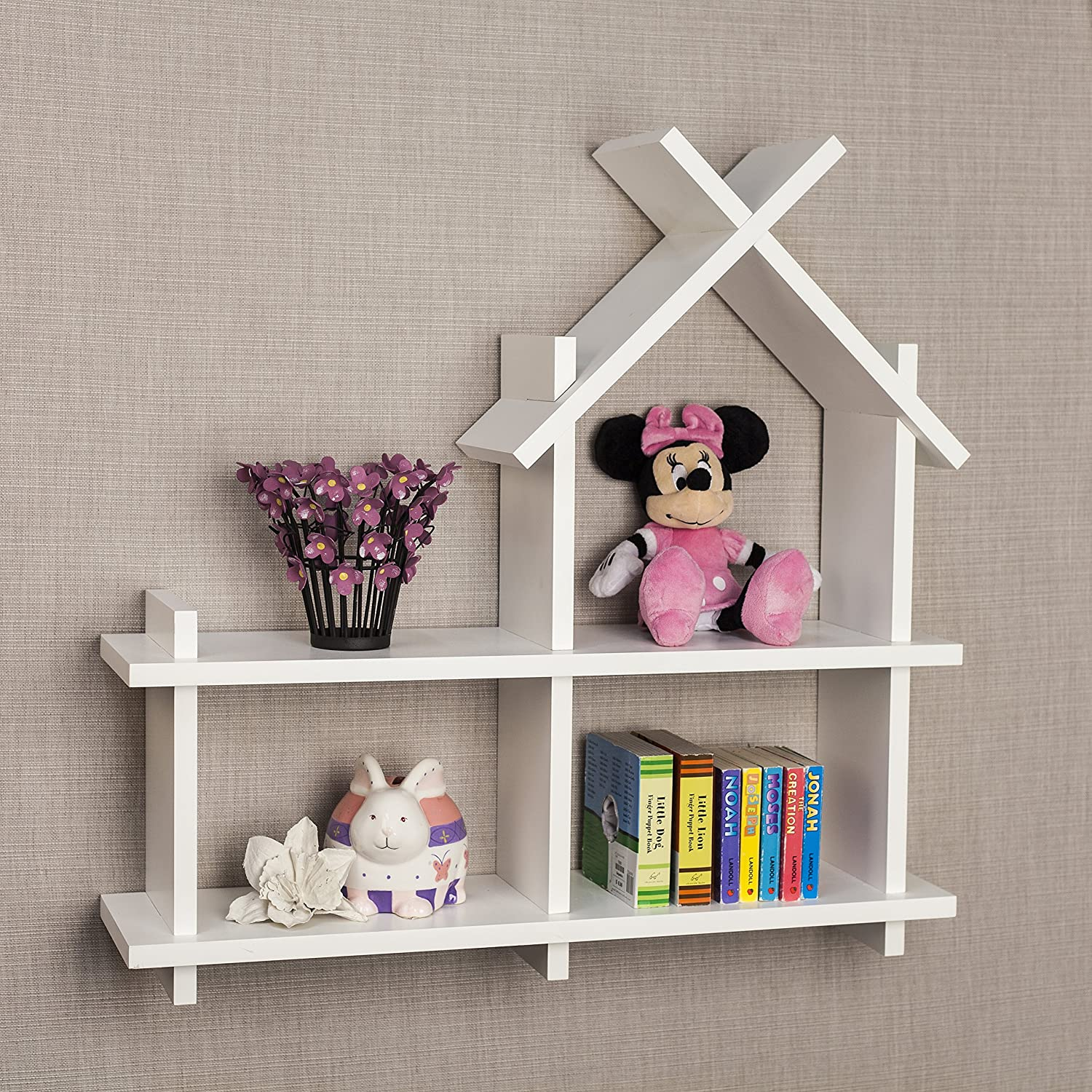 Amazon.com: Danya B House Design White Wall Mount Shelf: Home U0026 Kitchen