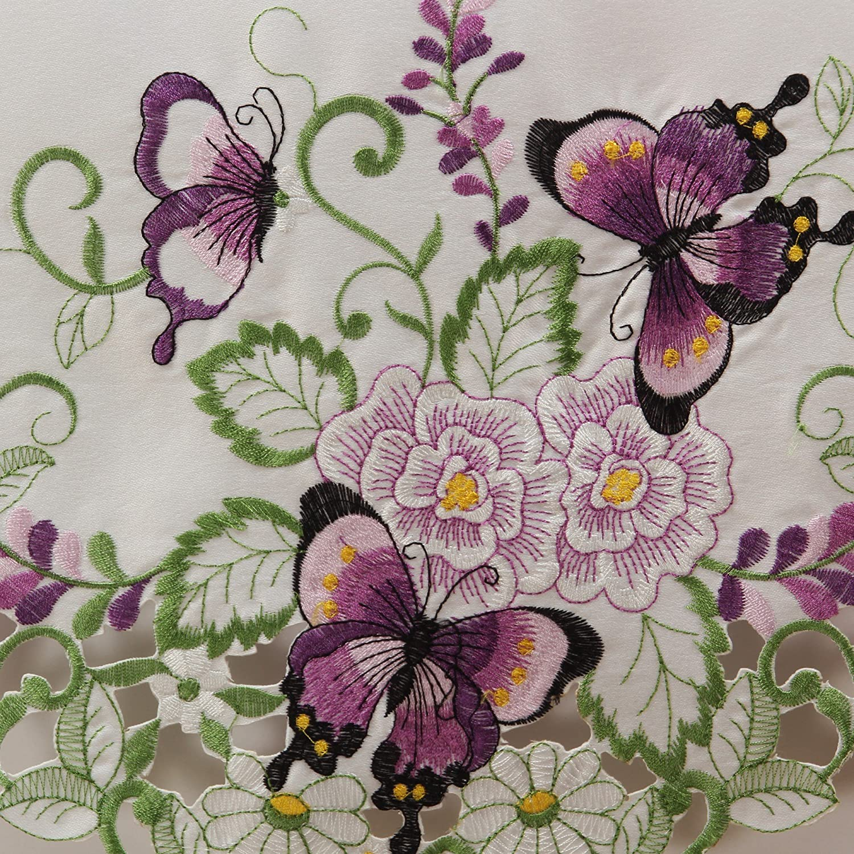 Quinnyshop Lilas Papillons et Fleurs Broderie Napperon 20 cm Rond Polyester Blanc