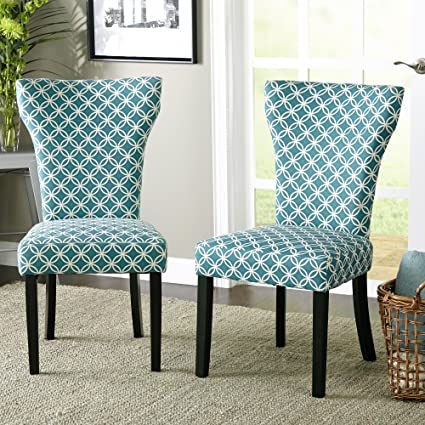 Attrayant Contemporary Wood Fabric Upholstered Accent Dining Chairs With With Piping  Along The Hourglass Shaped Back (
