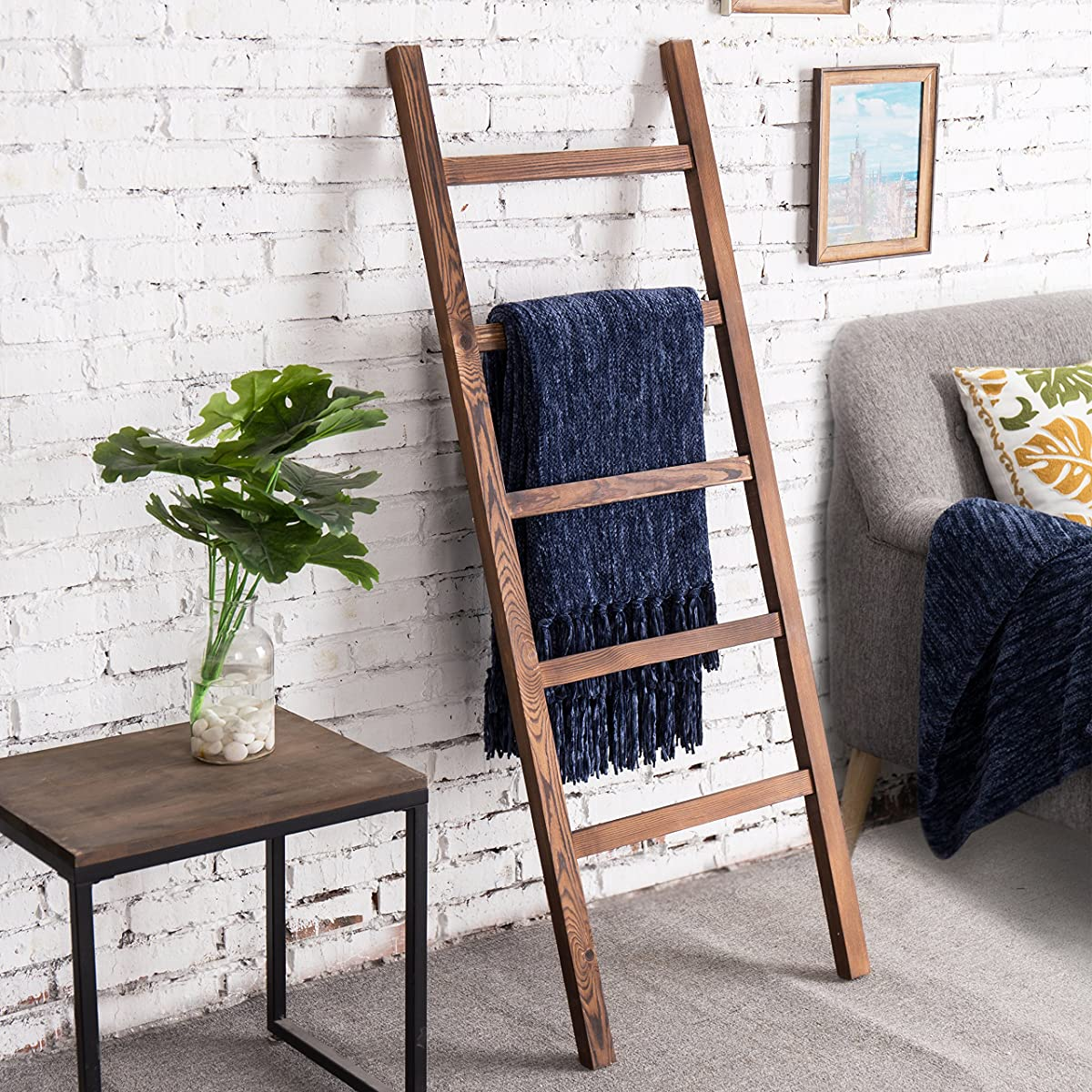 MyGift 4.5-Foot Brown Wood Decorative Blanket Storage Ladder