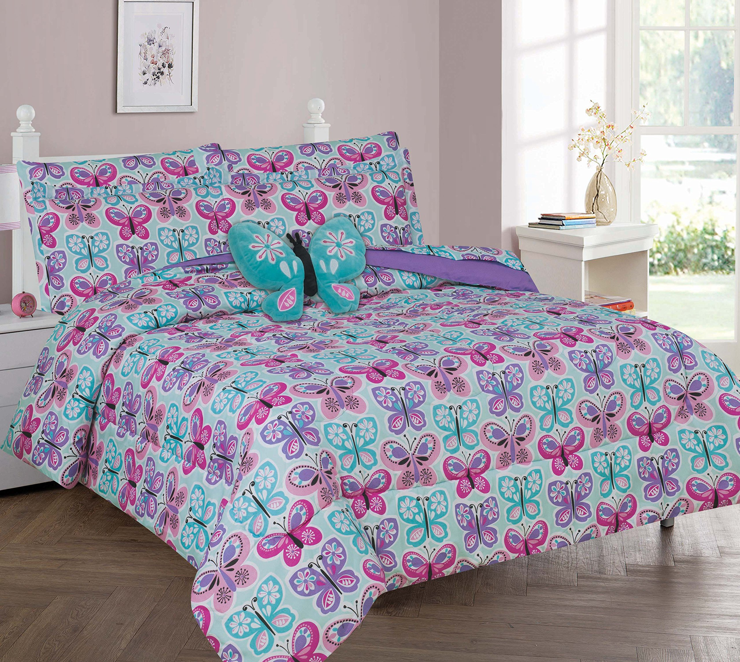 Twin & Full 6 Pcs or 8 Pcs Comforter/ Coverlet / Bed in Bag Set with Toy (Full, BUTTERFLY BLUE)
