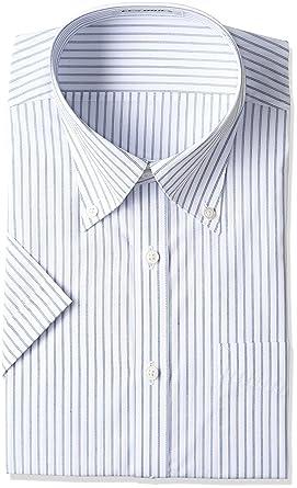 Amazon | (レミュー) AOKI(アオキ) 半袖スリムボタンダウンシャツ(白地:ブルーストライプ) | シャツ・ワイシャツ 通販