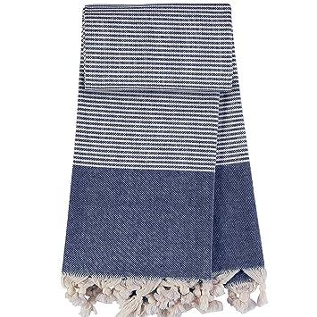 TRAVELER Navy Blue - Toalla de Hammam - 100% algodón - prewashed - Super Suave - directa Uso - Toalla - Toalla ...