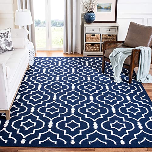 Safavieh Dhurries Collection DHU637D Hand Woven Navy and Ivory Premium Wool Area Rug 6 x 9
