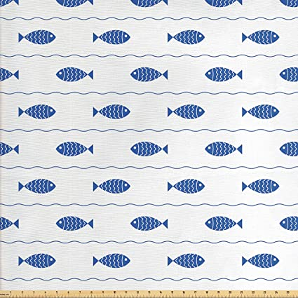 Amazon Com Ambesonne Nautical Fabric By The Yard Fishes Swimming