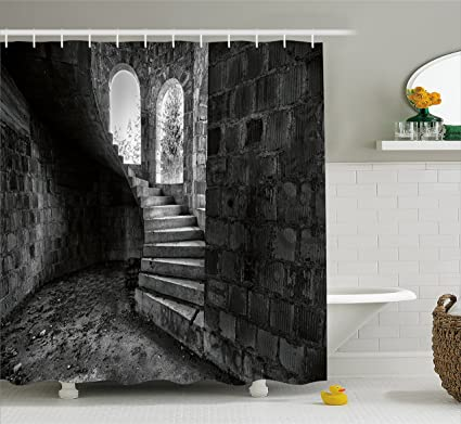 Rustic Shower Curtain By Ambesonne Circular Medieval Brick Staircase Vacant Castle Architecture Art Of Photography