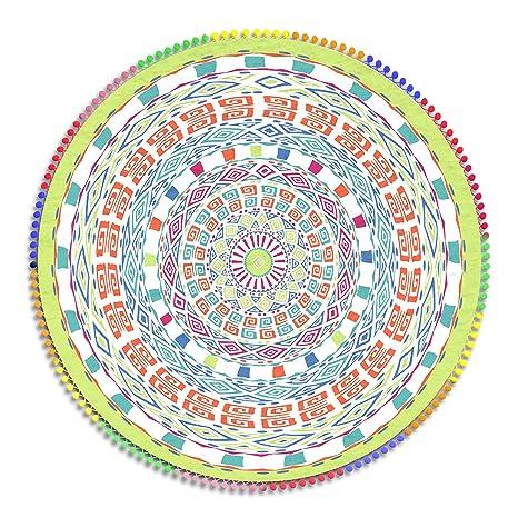 Obi - Toalla Pareo Mandala de Playa Redondo 160 cm. Microfibra. Mandala Doble Extra