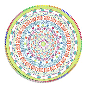 Obi - Toalla Pareo Mandala de Playa Redondo 160 cm. Microfibra. Mandala Doble Extra Grande.: Amazon.es: Hogar