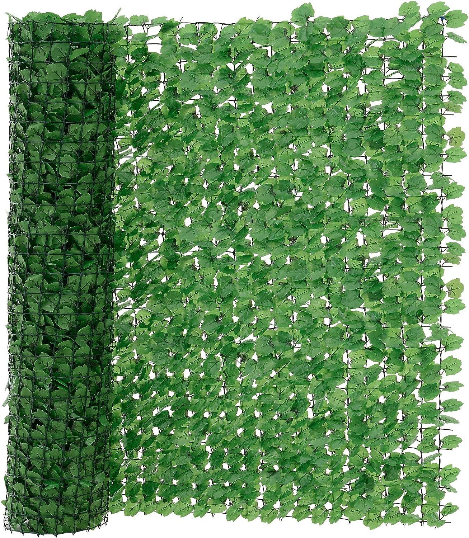 [neu.haus] Valla de hojas artificiales (150 x 300 cm) PVC Protector visual y contra el viento -resistente