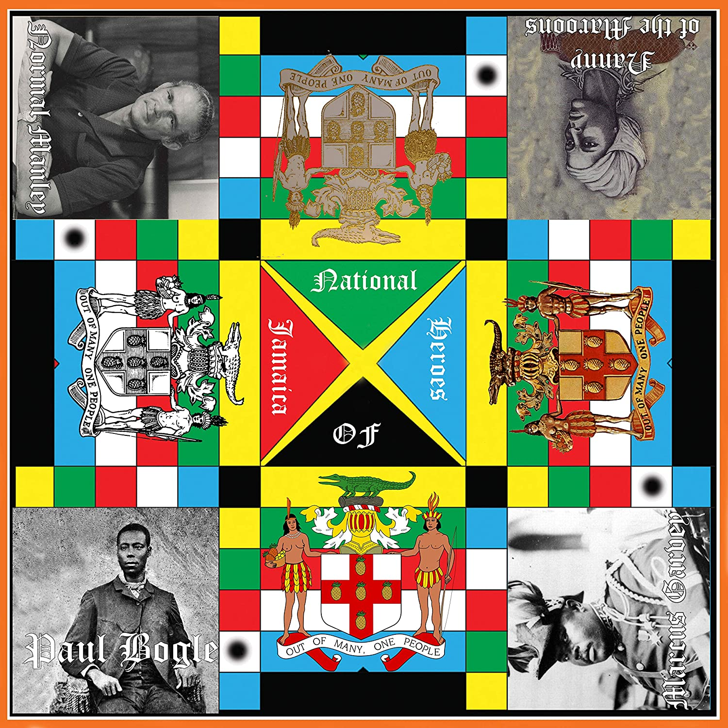   2ft x 2ft Single Side Multi-Player Board Game Name Print Error Family Game Night Jamaican Ludo Heroes Edition Game Pieces /& Dice