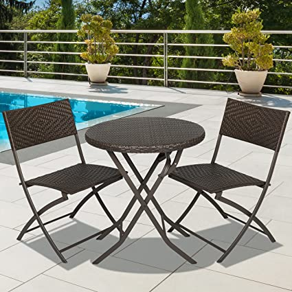 ca8cdfbe5cd Amazon.com  Best Choice Products 3-Piece Outdoor Patio Folding Rattan Hand  Woven Bistro Set Furniture w Table