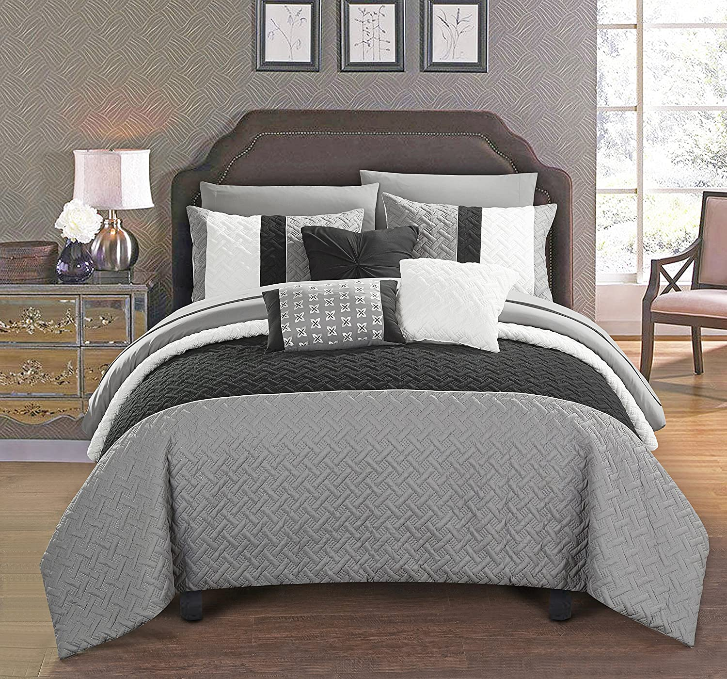 Chic Home Osnat 10 Piece Color Block Quilted Embroidered Design Bag Bedding – Sheets Decorative Pillows Shams Included Comforter Set, King, Grey