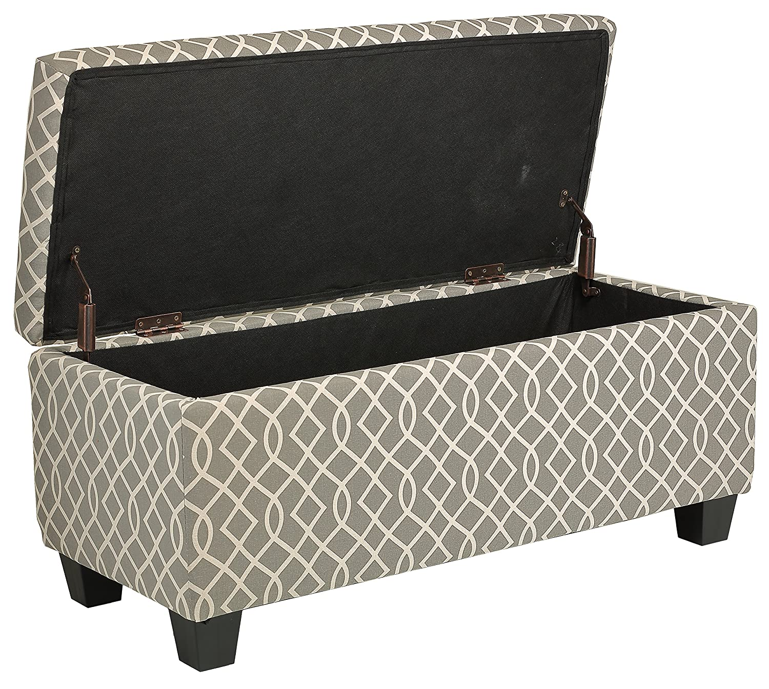 Amazoncom Cortesi Home Kiki Fabric Storage Long Bench Ottoman