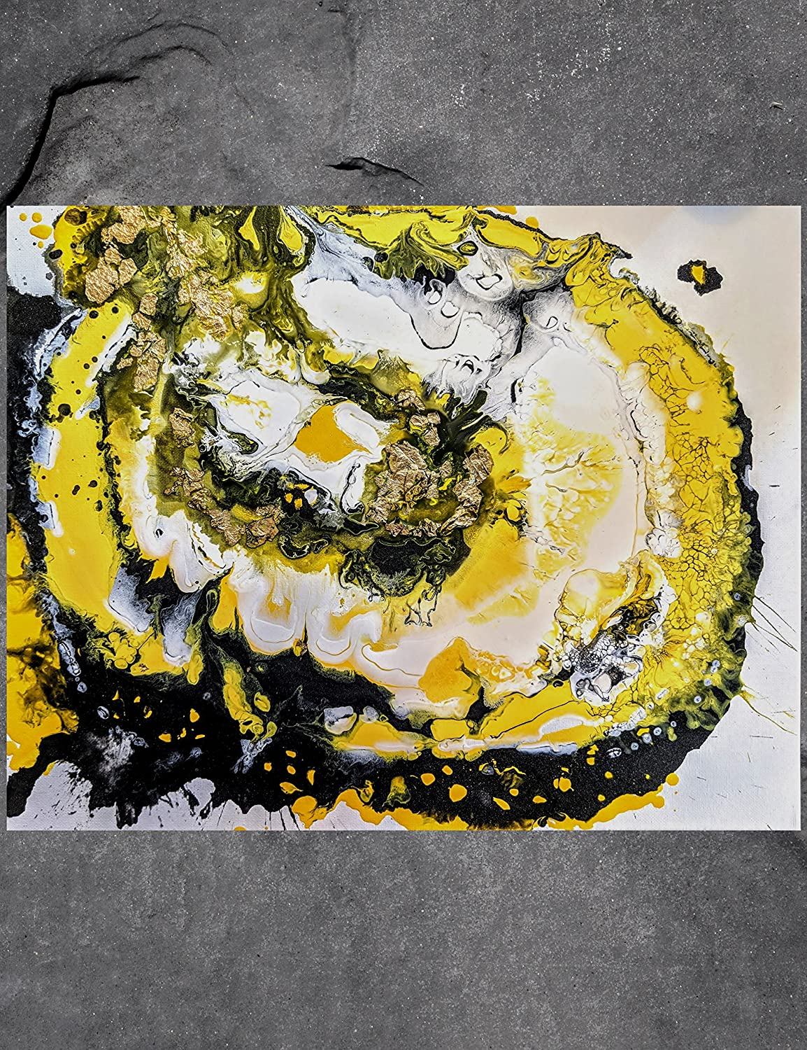 Amazon Com Abstract Painting Gold Leaf Yellow Impasto