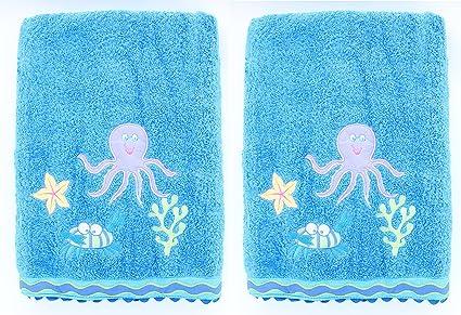 Toalla de baño bordada para niños Sierra Undermar, 2 unidades, 100 % algodón,