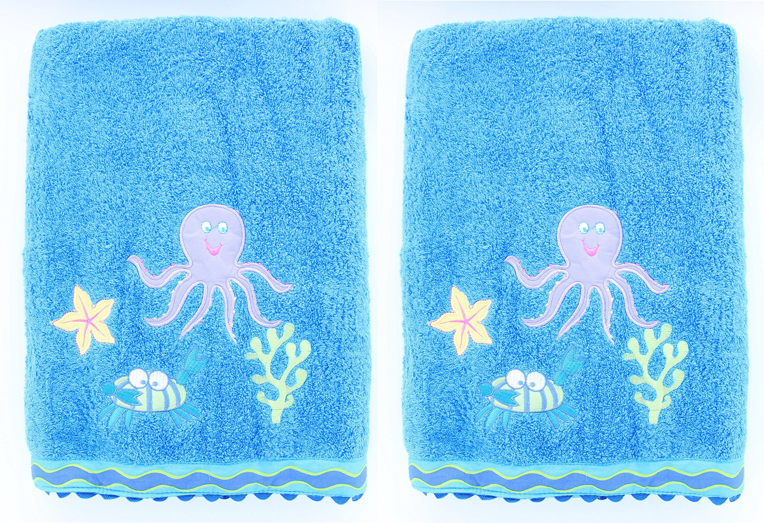 Kids Sierra Undersea 2-Pack Embroidered Bath Towel - 100% Cotton - 27'' by 54''