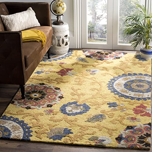 Safavieh Blossom Collection BLM401B Handmade Floral Vines Gold and Multi Premium Wool Area Rug 2 x 3