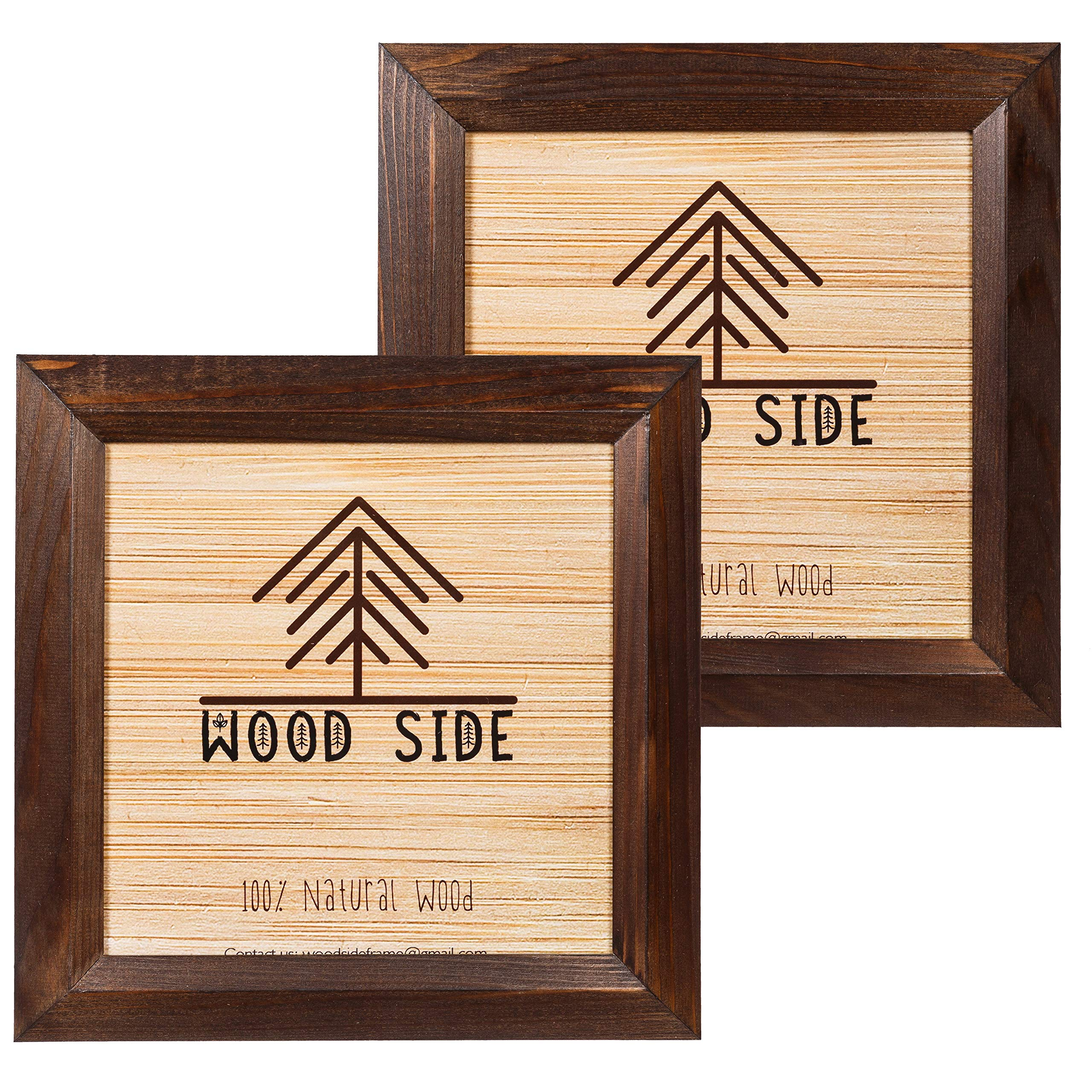 8x8 Wooden Square Picture Frames Brown - Pack of 2 - Rustic Frame Made of Solid Wood Finish Beveled Profile for Wall Mounting Photo Frame by Wood Side