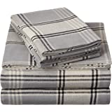 Pinzon 160 Gram Plaid Flannel Sheet Set - Queen, Grey Plaid