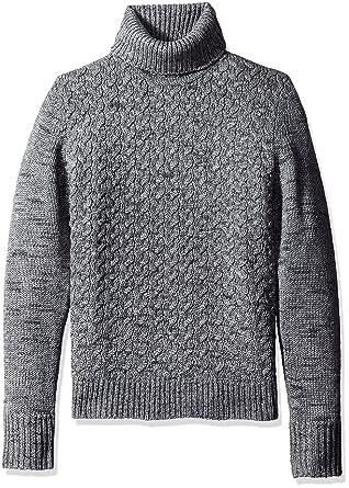 Calvin Klein Men\u0027s Wool Cable Knit Turtleneck Sweater, Monument, Large