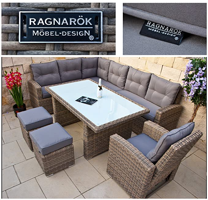 RAGNARÖK PolyRattan hohe Dinning Lounge - DEUTSCHE Marke - EIGENE Produktion - 8 Jahre GARANTIE Gartenmöbel Essgruppe Hocker