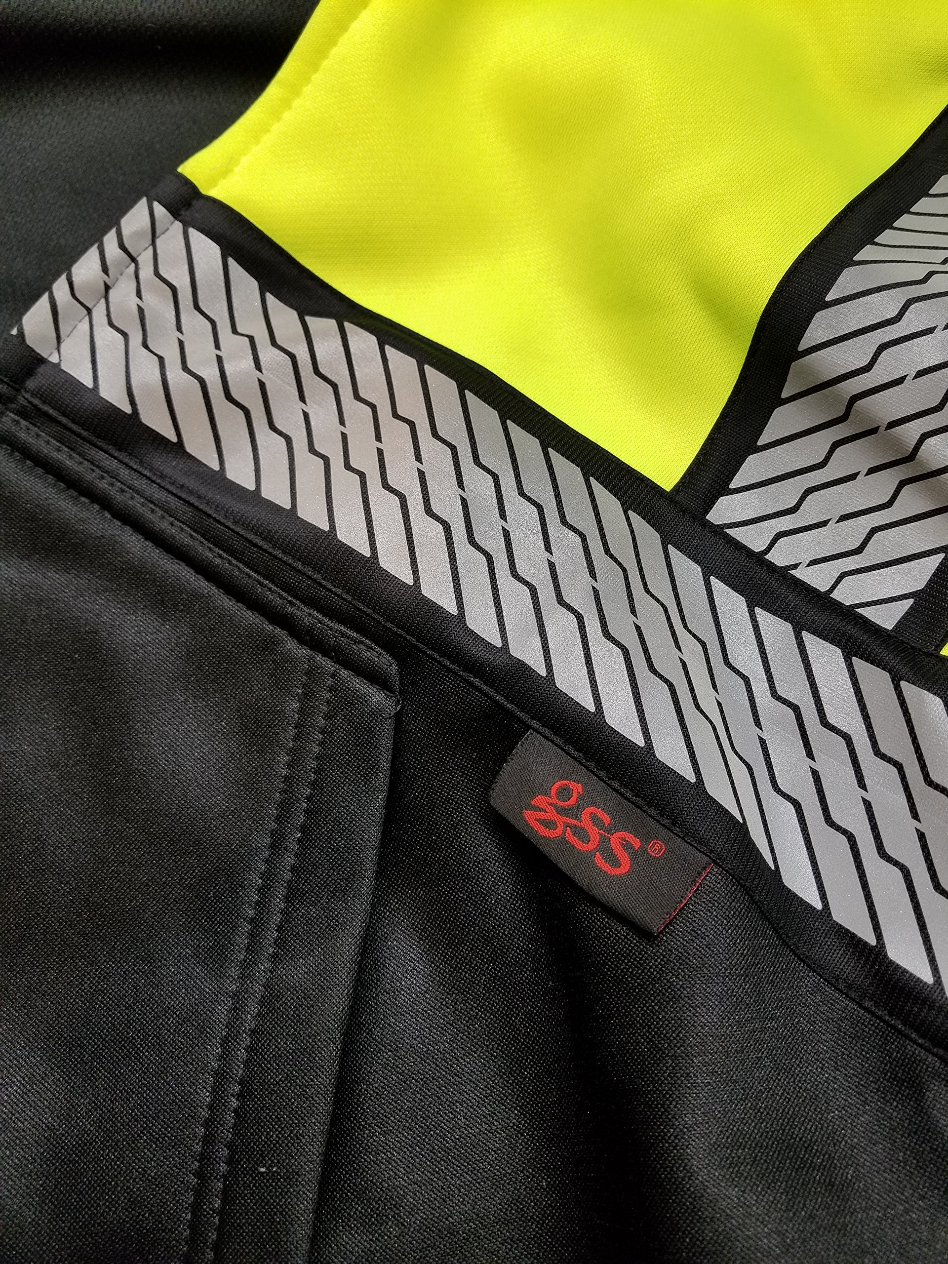 High Vis Lime Green and black Class 3 Heavyweight Premium ONYX Hoodie Sweatshirt with black trim and reflective tape (XXL) by GSS SAFETY (Image #2)