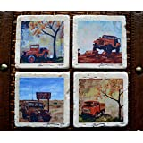 Fine Art Coasters, set of 4 Jeeps, drink coaster, travertine, stone, jeep, willys, fc-150, CJ, distressed, car, truck, fathers day, gift, man, men, present