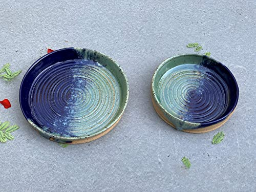 Navy Blue and Green Oil Dip Dish Handmade Clay Art Kitchen Pottery Garlic Grater Plate