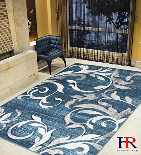HR- Modern Faded Vintage Distressed Floral Pattern 5 x 7 Contemporary Area Thunder Blue Ash Gray Fossil Ivory Slate Yellow