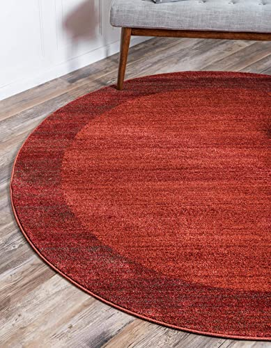 Unique Loom Del Mar Collection Contemporary Transitional Terracotta Round Rug 8 0 x 8 0