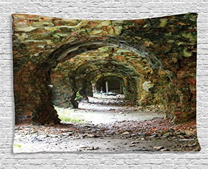Amazon Com Ambesonne Rustic Home Decor Tapestry Ruins Of Arched