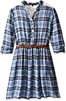 My Michelle Big Girls' Plaid Button Down Shirt Dress With Crochet Lace Shoulder Inserts and Yoke With Belt
