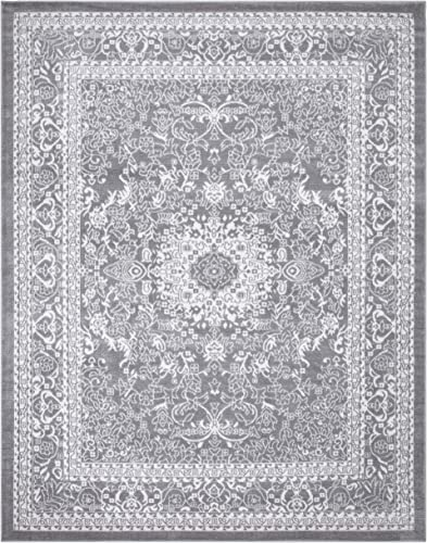 Diagona Traditional Medallion Design 8X10 Area Rug, 92 W x 116 L, Gray Ivory