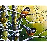 River's Edge Tempered Glass Cutting Board with Gorgeous Winter Refuge Chickadees Bird Design- (Chickadees, 16-Inchx12-Inchx.5-Inch)
