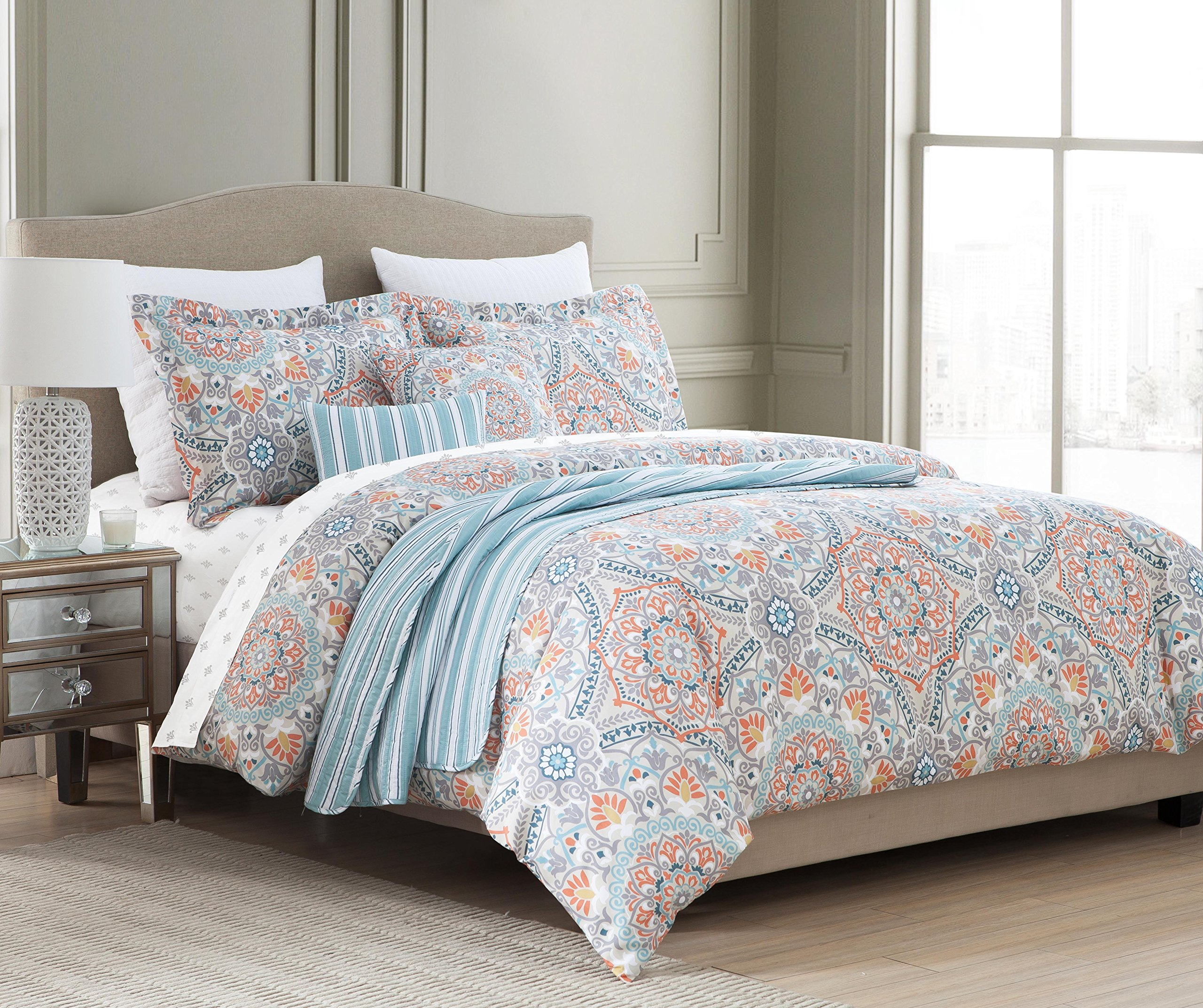 blue set bedroom furniture queen for orange sets comforter fabulous ideas