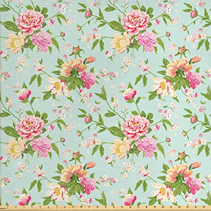 Amazoncom Lunarable Shabby Chic Fabric By The Yard Wild Peonies