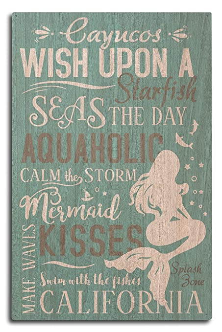 Cayucos, California - Mermaid Typography (10x15 Wood Wall Sign, Wall Decor Ready to