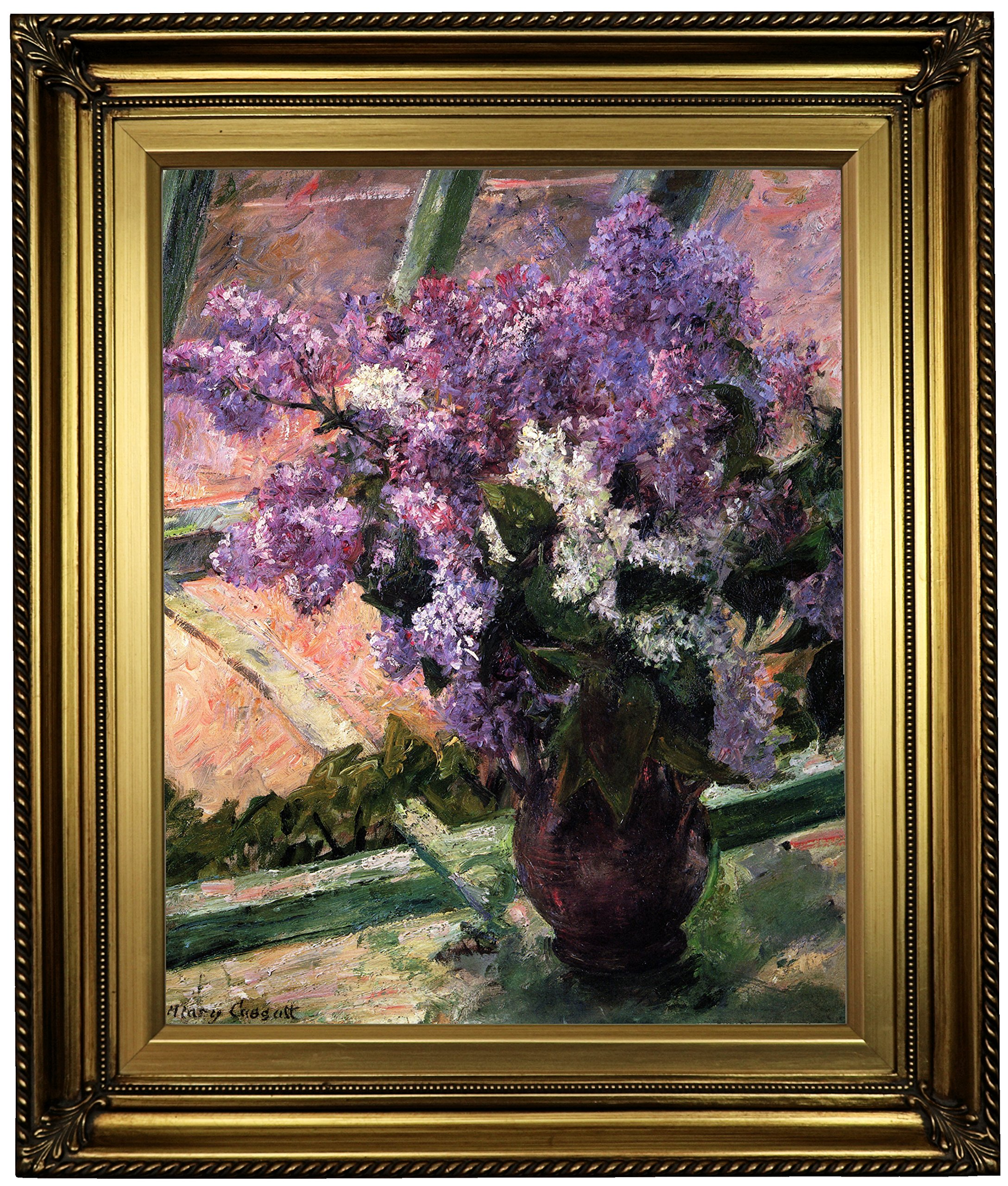 Historic Art Gallery Lilacs in a Window 1880 by Mary Cassatt Framed Canvas Print, 16'' x 20'', Gold Leaf