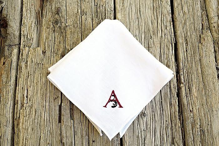 c7f972962d2 Amazon.com  White Irish Linen Handkerchief with Hand Embroidered Monogram  Initial  Handmade