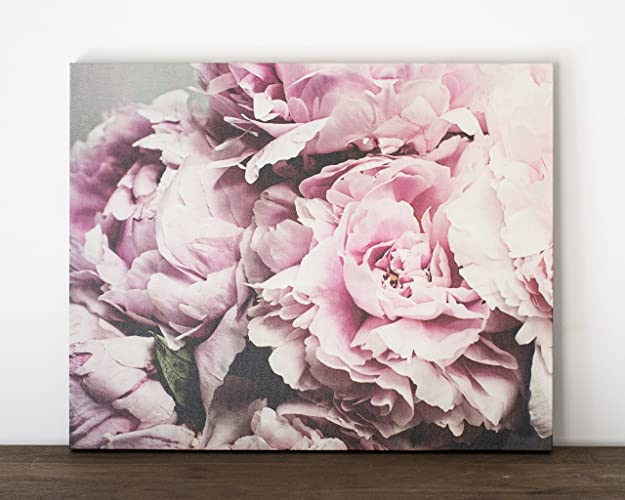 16x20 Inch Pink Peony Canvas Wrap, Shabby Chic Wall Art